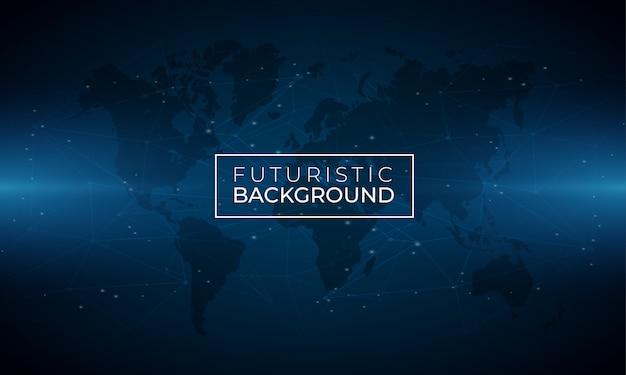 Moderno sfondo luminoso blu con mappa del mondo