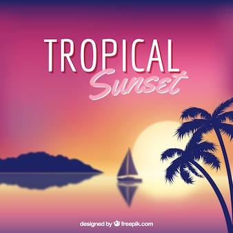 Moderno sfondo tropicale con un design realistico