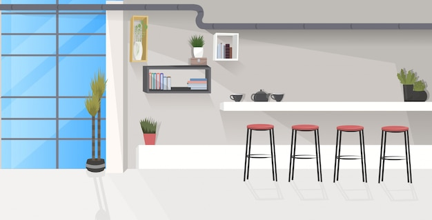 Moderno ufficio cucina interna vuota nessuna sala da pranzo persone con schizzo di mobili