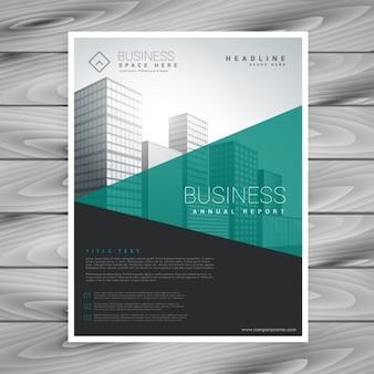 Moderno volantino brochure torquoise con forme geometriche