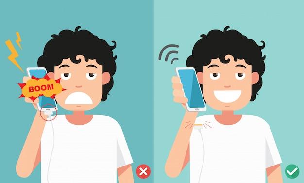 Modi sbagliati e giusti non telefonare nell'illustrazione di ricarica della batteria.