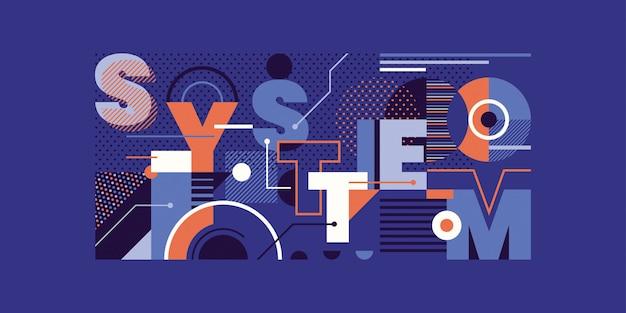 Modish design astratto con tipografia di sistema e varie forme geometriche.