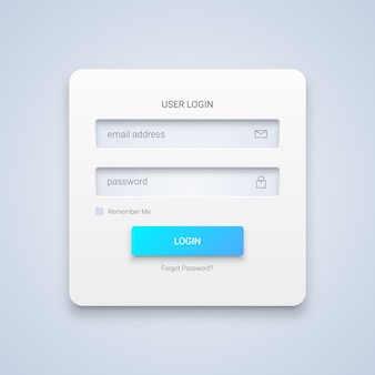 Modulo di accesso utente 3d bianco