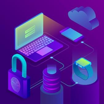 Modulo di autorizzazione dell'utente, trattamento dei dati personali. accesso dell'impronta digitale, concetto di sicurezza di affari, illustrazione isometrica 3d su fondo ultravioletto