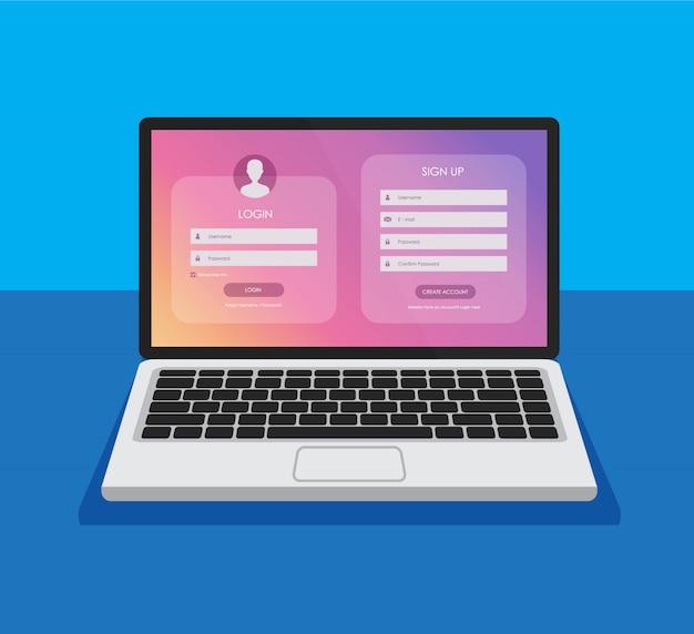 Modulo di registrazione e pagina del modulo di accesso sul display di un laptop. modello per il tuo design. concetto di interfaccia utente del sito web. mockup di computer.