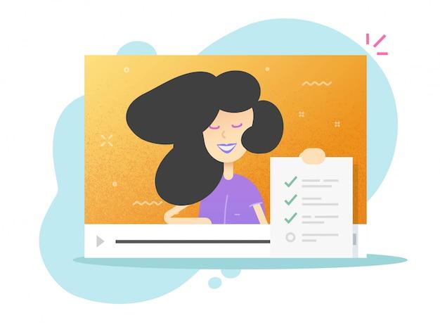 Modulo di sondaggio online documento della lista di controllo nel webinar di videochiamata o risultati dell'esame a distanza interattivi con il fumetto piatto insegnante donna