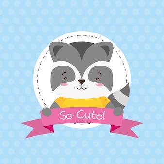 Moffetta animale carino, cartone animato e stile piatto, illustrazione