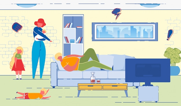 Moglie che indica il marito che giace sul divano