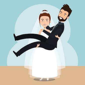 Moglie che solleva i personaggi sposati in casa