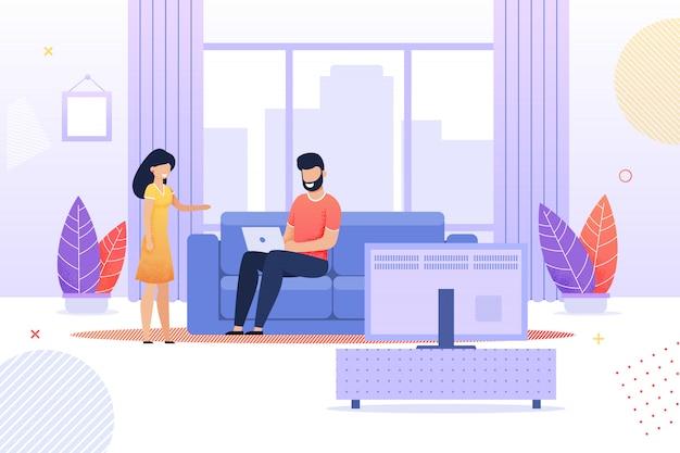 Moglie parla al marito occupato a casa piatto dei cartoni animati
