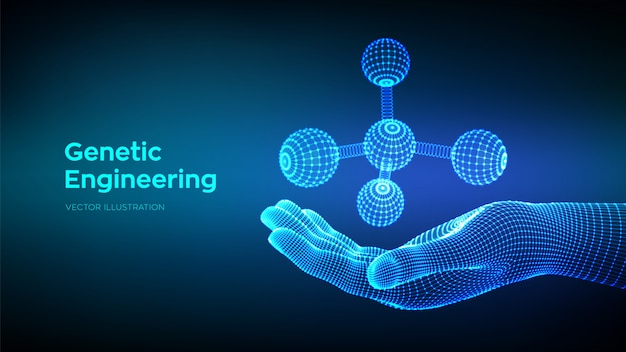 Molecola in mano. dna, atomo, neuroni. molecole e formule chimiche.