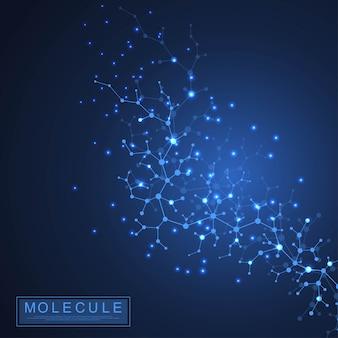 Molecola scientifica di sfondo doppia elica del dna illustrazione con profondità di campo ridotta. carta da parati misteriosa o banner con molecole di dna. vettore di informazioni genetiche.