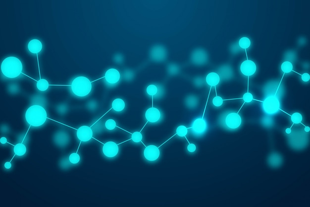 Molecole astratte sfondo blu