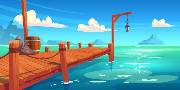 Molo in legno sul fiume, lago o paesaggio marino, molo