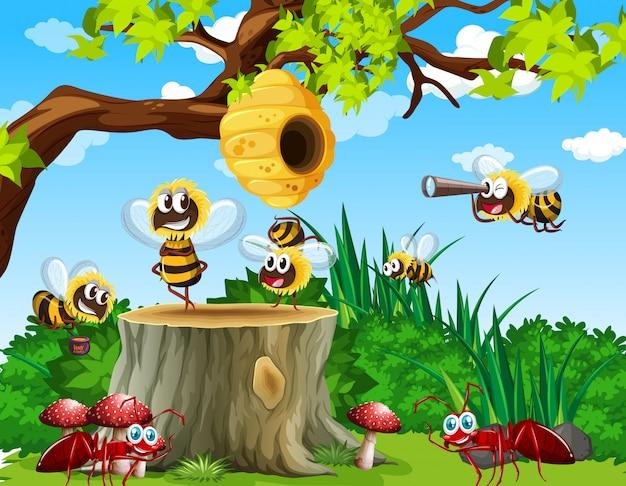 Molte api e formiche vivono nella scena del giardino con nido d'ape