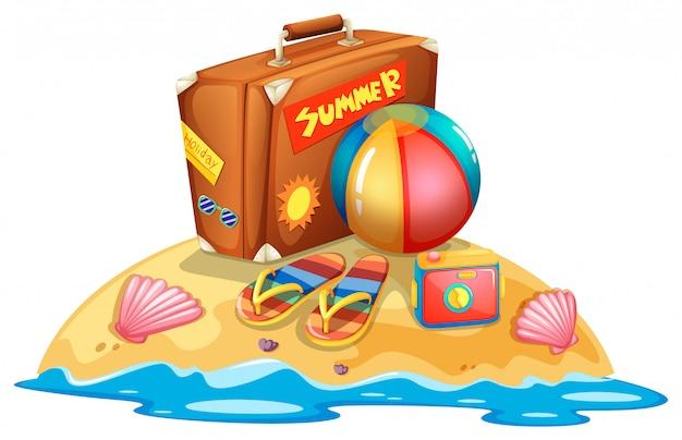 Molte attrezzature da spiaggia estiva