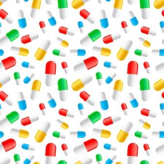 Molte capsule variopinte delle pillole sul modello senza cuciture bianco