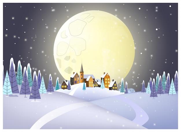 Molte case contro l'illustrazione della luna piena