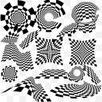 Molteplici effetti di illusione ottica fondi scacchi