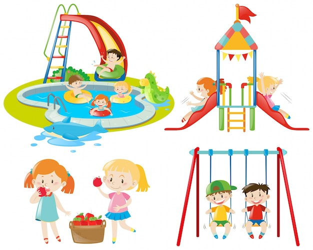 Molti bambini che giocano al parco giochi e nella piscina