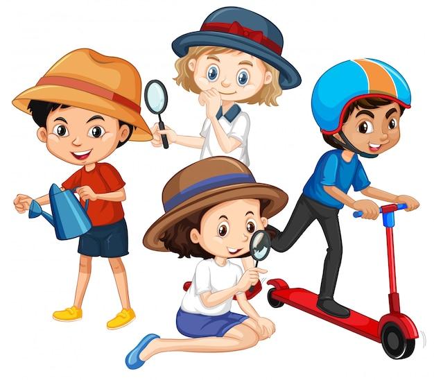 Molti bambini con lente d'ingrandimento
