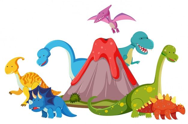 Molti dinosauri vicino al vulcano