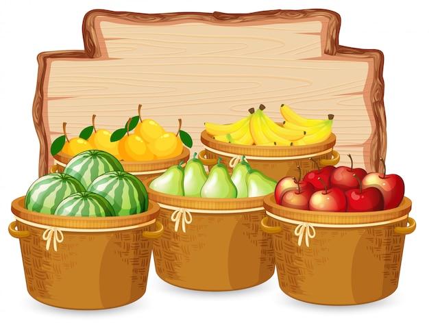 Molti frutti su tavola di legno