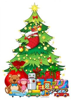 Molti giocattoli sotto l'albero di natale