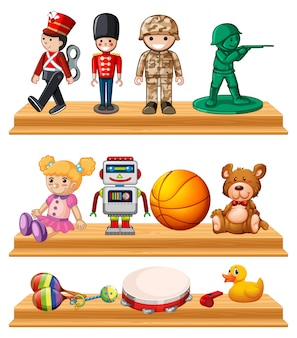 Molti giocattoli sugli scaffali in legno