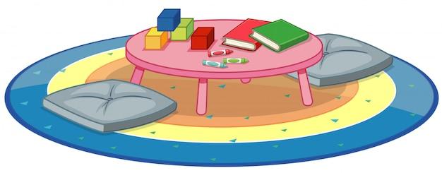 Molti giocattoli sulla tavola rotonda