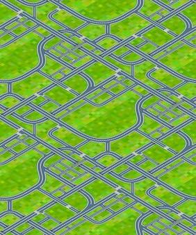 Molti incroci stradali sul fondo dell'erba, modello senza cuciture isometrico