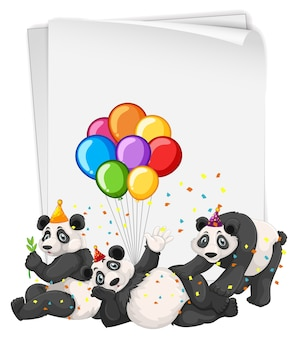 Molti panda in tema di festa