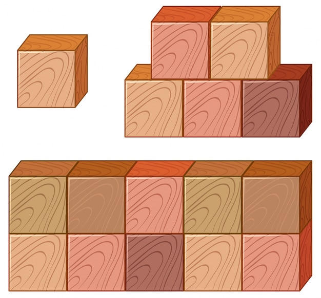 Molti pezzi di cubi di legno