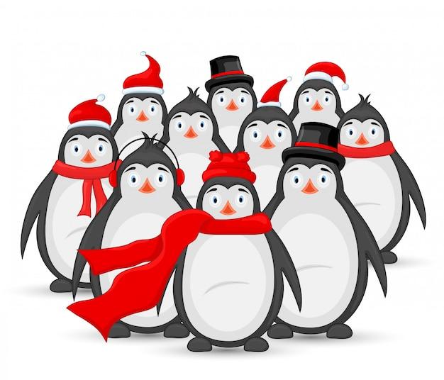 Molti pinguini polari in auricolari invernali