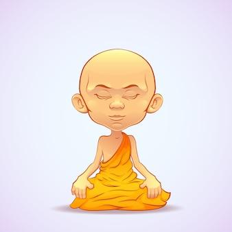 Monaco buddista che medita