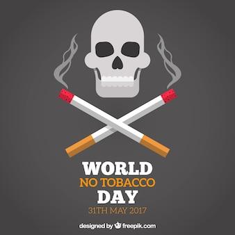 Mondiale senza sfondo giorno di tabacco con il cranio e sigarette