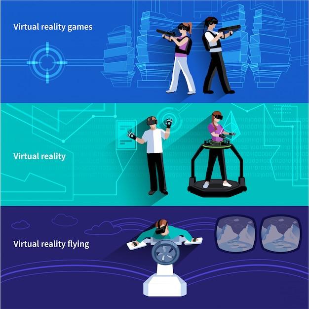 Mondo artificiale di realtà virtuale 3 banner orizzontali piatti con giochi militari e abstra volante