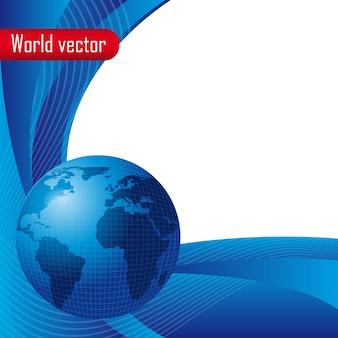 Mondo blu con spazio per la copia con le onde