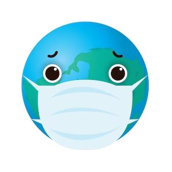 Mondo dei cartoni animati che indossa una maschera protettiva per proteggere il virus covid-19 coronavirus infettare il concetto di protezione per il controllo delle infezioni isolato su sfondo bianco illustrazione