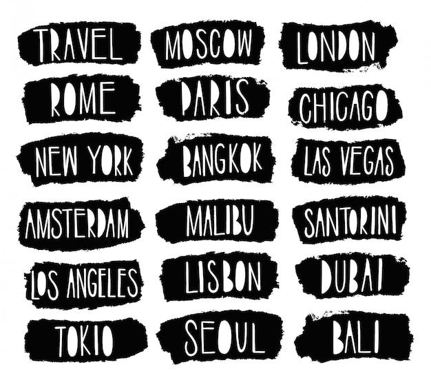 Mondo della città di viaggio di discorso di testo.