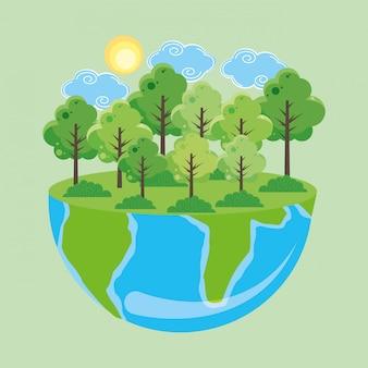 Mondo della giornata della terra con la foresta