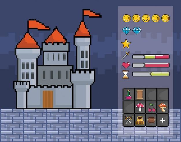 Mondo di gioco arcade e scena di pixel