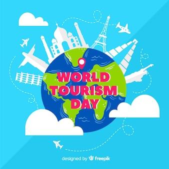 Mondo di giornata turistica disegnata a mano in nuvole