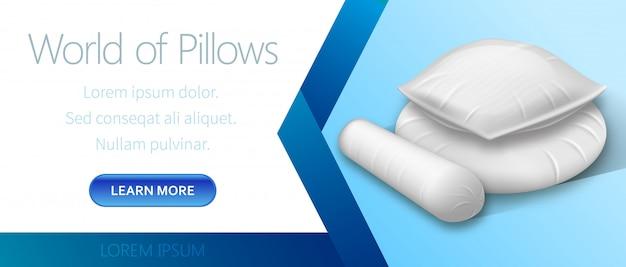 Mondo di pubblicità cuscini bianchi