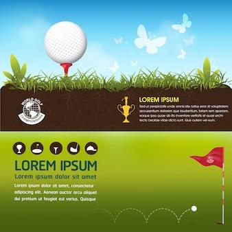 Mondo di torneo di golf concetto di vettore di palla da golf