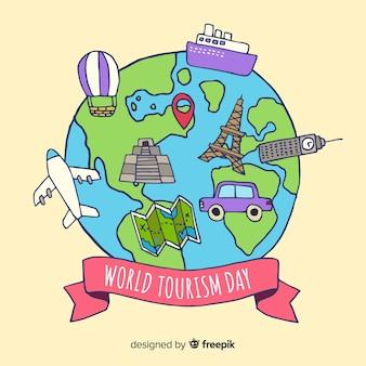 Mondo disegnato a mano con punti di riferimento e trasporti turismo giorno