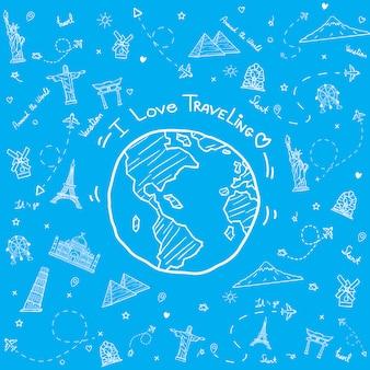 Mondo disegnato con elementi di viaggio