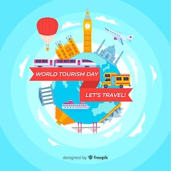 Mondo piatto con punti di riferimento e trasporto giorno turismo sfondo