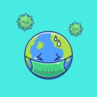 Mondo spavento corona virus illustration. personaggio dei cartoni animati di corona mascotte. concetto del mondo isolato