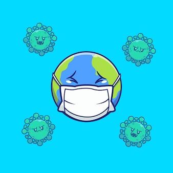 Mondo spavento corona virus illustration. personaggio dei cartoni animati di corona mascotte. concetto dell'icona del mondo isolato